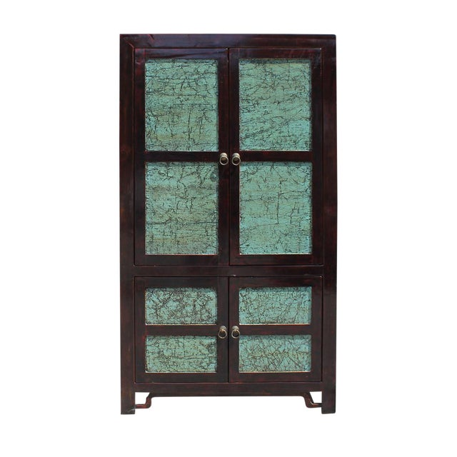 Chinese Distressed Turquoise & Brown Armoire For Sale