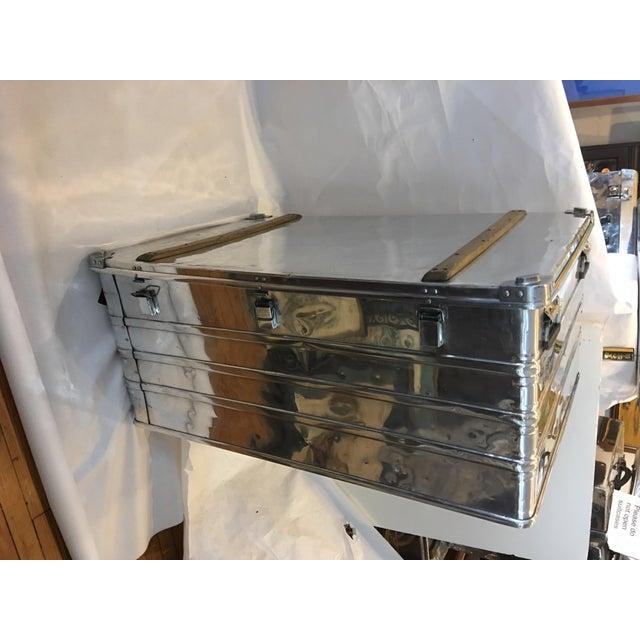 Vintage Polished Steel Zarges Industrial Trunk - Image 2 of 10