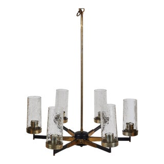 Italian Mid-Century Stilnovo Era Six Arm Chandelier For Sale