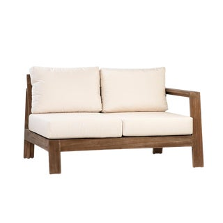 Outdoor Teak Single Arm Loveseat For Sale