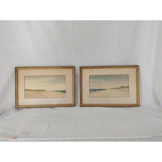 Coastal Watercolors in Gilt Frames by Caka - A Pair | Chairish