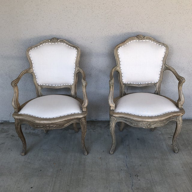 Pair of vintage French Bergér Chairs. New linen upholstery. Seat height 16  inches. - Vintage Linen Upholstered French Chairs - A Pair Chairish