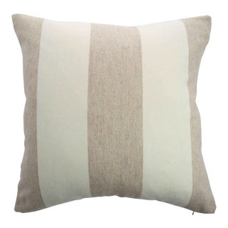 FirmaMenta Italian Eco-Friendly White and Cream Stripes Wool Pillow For Sale