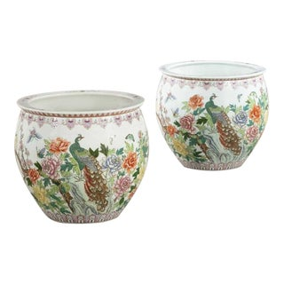 Pair of Chinese Pottery Fish Bowl Flower Pots Jardinieres W Peacock Decoration For Sale