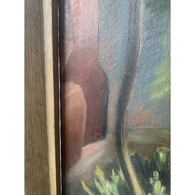 1940s Abstract Forest Landscape Oil Painting, Framed For Sale - Image 4 of 9
