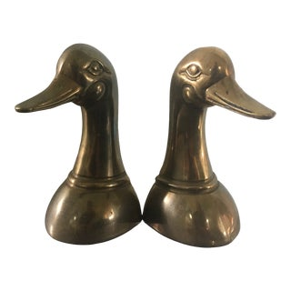 Vintage Brass Duck Head Bookends - a Pair For Sale