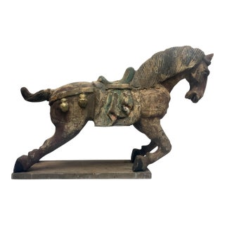 Carved Horse Sculpture On Stand For Sale