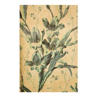 Antique Hand Block Printed Gladiola Green Floral Curtain For Sale