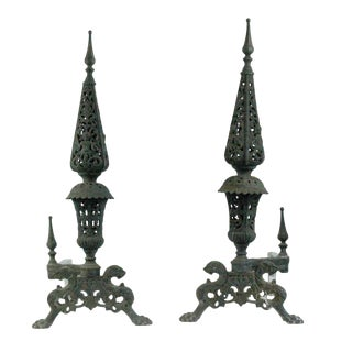 18th Century French Cast Iron Andirons - a Pair For Sale