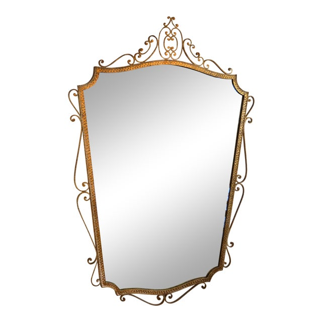 Art Deco Style Italian Gilt Wrought Iron Wall Mirror by Pier Luigi Colli For Sale