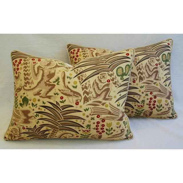 Custom Clarence House Gibbon Fabric Pillows- A Pair - Image 2 of 10