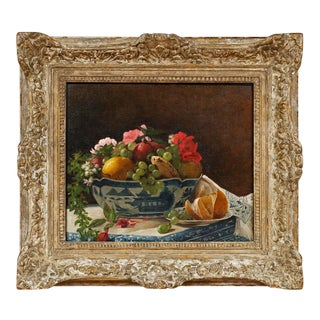 """Mid 19th Century """"Bowl With Fruit and Flowers"""" Oil Painting on Canvas by Francois Bonvin-Attrib. (French 1817-1887) For Sale"""