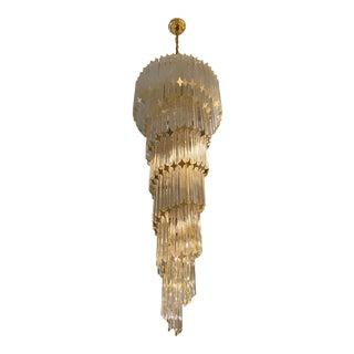Italian Midcentury Brass Spiral Glass Chandelier For Sale