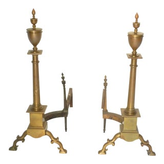 Large Brass Andirons - A Pair For Sale