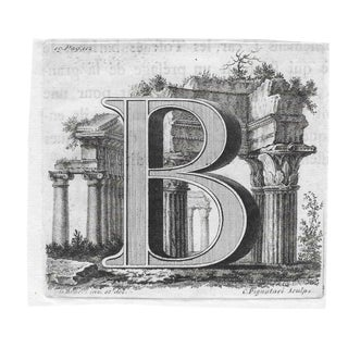 18th Century Classical Engraving of the Initial B For Sale