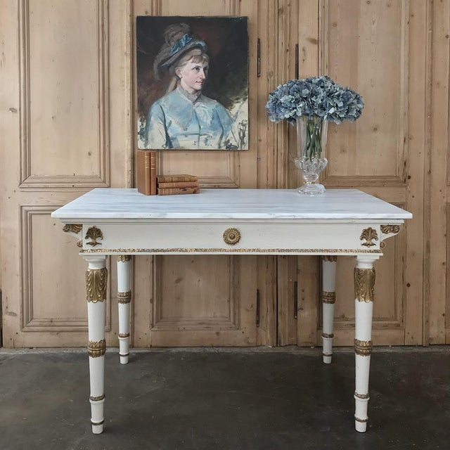 19th Century Italian Neoclassical Painted and Gilded Marble Top Center Table ~ Console For Sale - Image 4 of 12