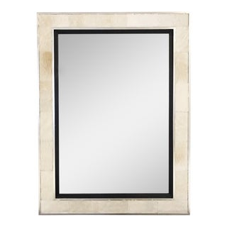 Ivory Cowhide & Silver Finished Frame Beveled Mirror For Sale