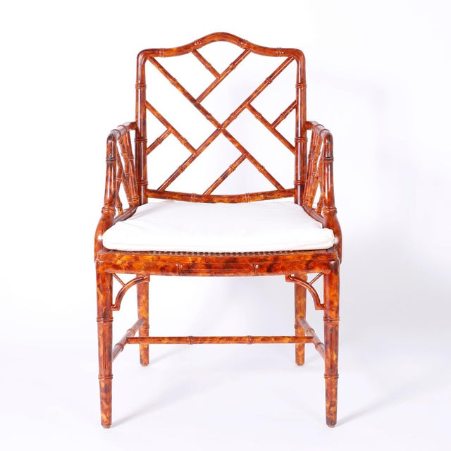 Asian Chinese Chippendale Armchairs - Set of 4 For Sale - Image 3 of 11