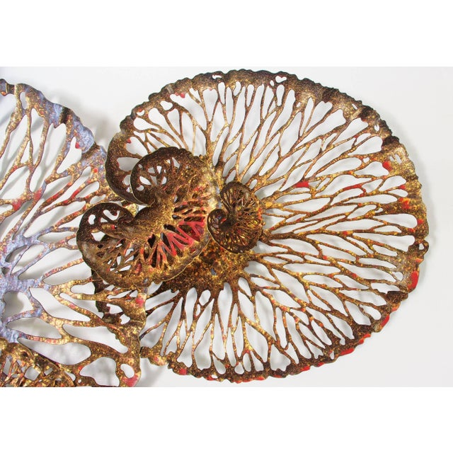Red and gold iron lotus wall sculpture designed by Fabio Bergomi for Fabio Ltd Width: 87 inches / Height: 47 inches /...