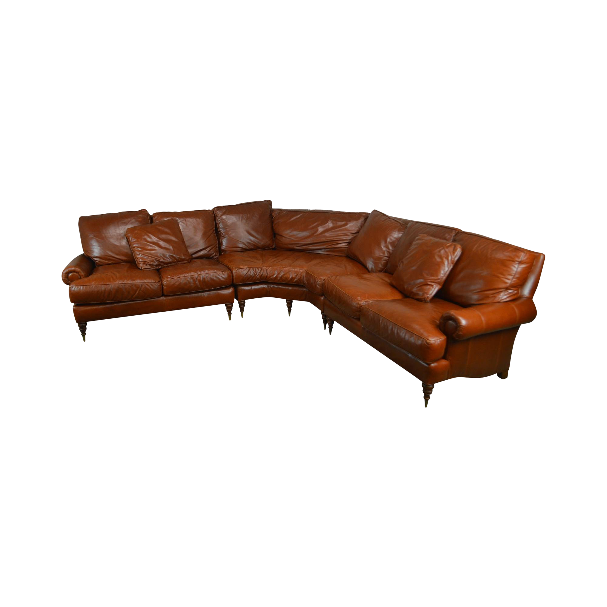 Wesley Hall Caramel Brown Leather Sectional Sofa