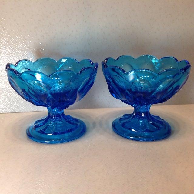 Vintage Blue Glass Pedestal Bowls - A Pair - Image 2 of 10