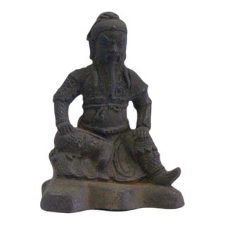 Rustic Iron Handcrafted Chinese General Guan Kwang Kong Figure For Sale