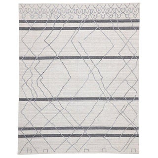 Contemporary Gray Moroccan Style Area Rug - 8′ × 9′11″ For Sale