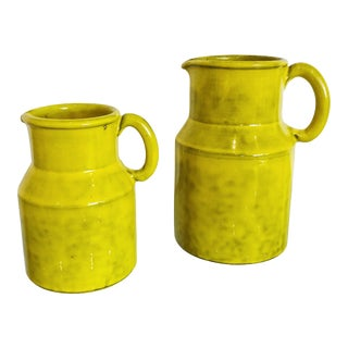 Peasant Village Pitchers in Chartreuse Italian Pottery Signed Pv Italy - a Pair For Sale