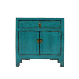 Distressed Teal Blue Lacquer Oriental Mid Side Table Cabinet