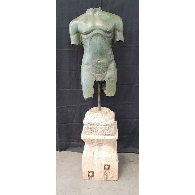 Antique Italian Bronze Life Size Torso W/Stone Base For Sale - Image 13 of 13