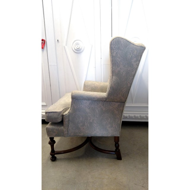 Contemporary Vintage Wingback Chair with Wood Legs For Sale - Image 3 of 9
