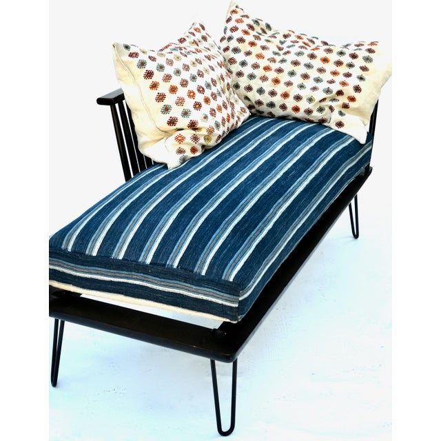 Lacquer Mid-Century Modern Daybed Settee With African Upholstery For Sale - Image 7 of 9
