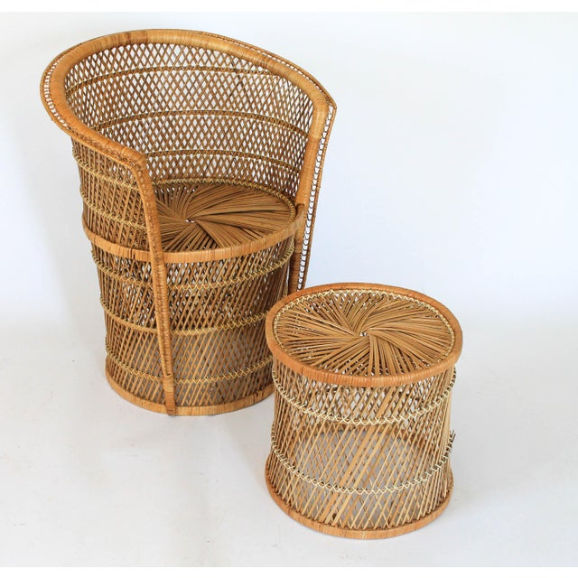 Boho Style Wicker Chair and Table For Sale In Milwaukee - Image 6 of 10