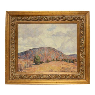 "1950s Landscape Oil Painting ""Connecticut Hills, Autumn"" by Dines Carlsen For Sale"