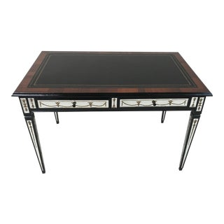 1950s French Verre Églomisé Reversed Painted Mirror With Black Leather Top Writing Desk For Sale