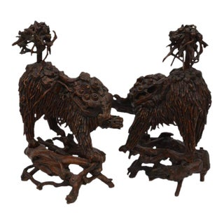 Mid 18th Century Chinese Carved Wood Foo Dogs - a Pair For Sale