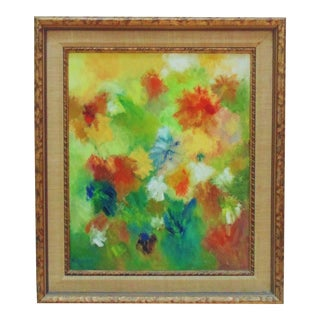 Still Life Painting Abstract Flowers Floral Mid Century Modern Acrylic on Board Signed For Sale