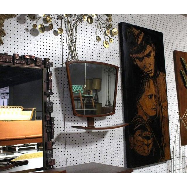 Danish Modern Danish Mid-Century Modern Adjustable Wall Mirror with Shelf For Sale - Image 3 of 9
