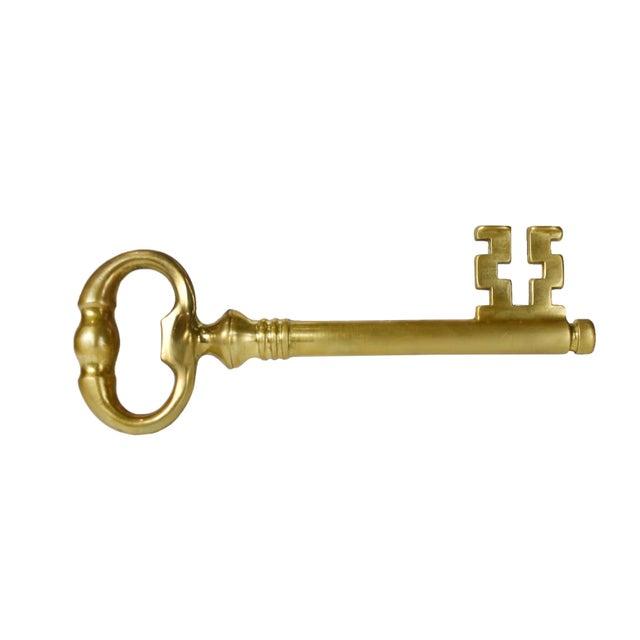 Modern Vintage Italian Brass Skeleton Key With Hidden Corkscrew Wine and Bottle Opener For Sale - Image 3 of 5