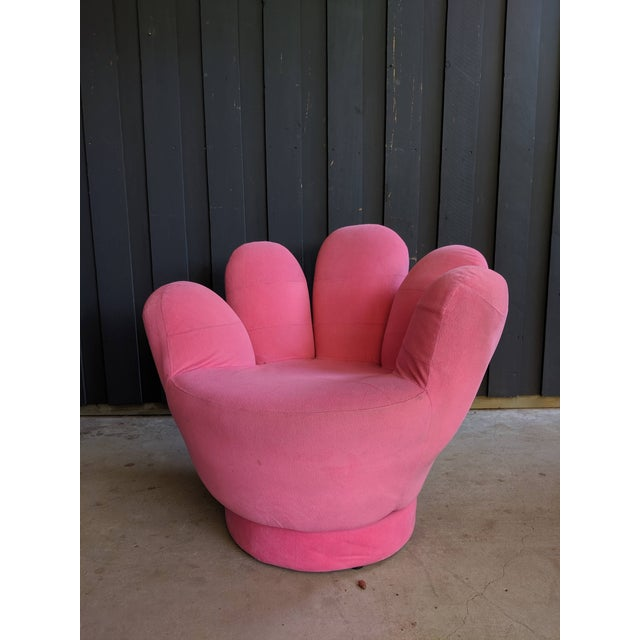 Boho Chic Pink Hand Shaped Swivel Lounge Chair For Sale - Image 4 of 11