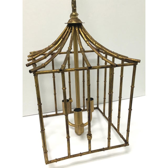 Italian Gilt Bamboo Birdcage Style Pendant Light For Sale - Image 4 of 7