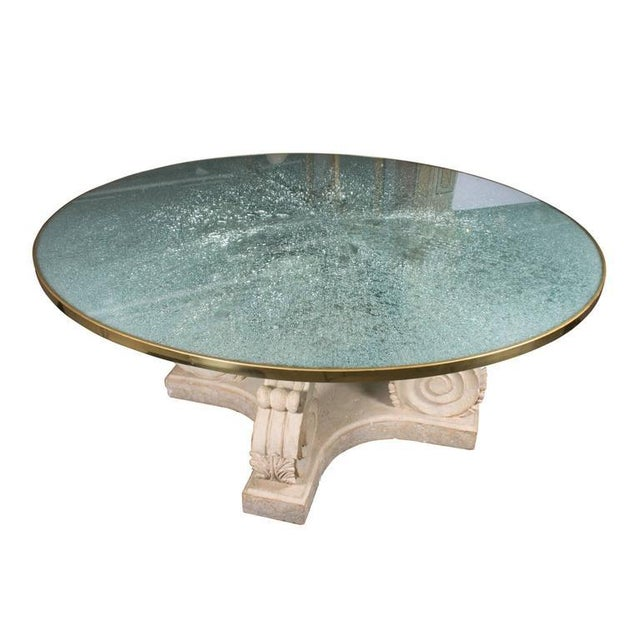 Carved Stone Glass : Steven chase round crackled glass top table w carved