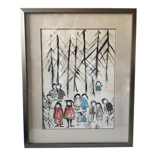 Mid Century Water Color Painting, Family For Sale