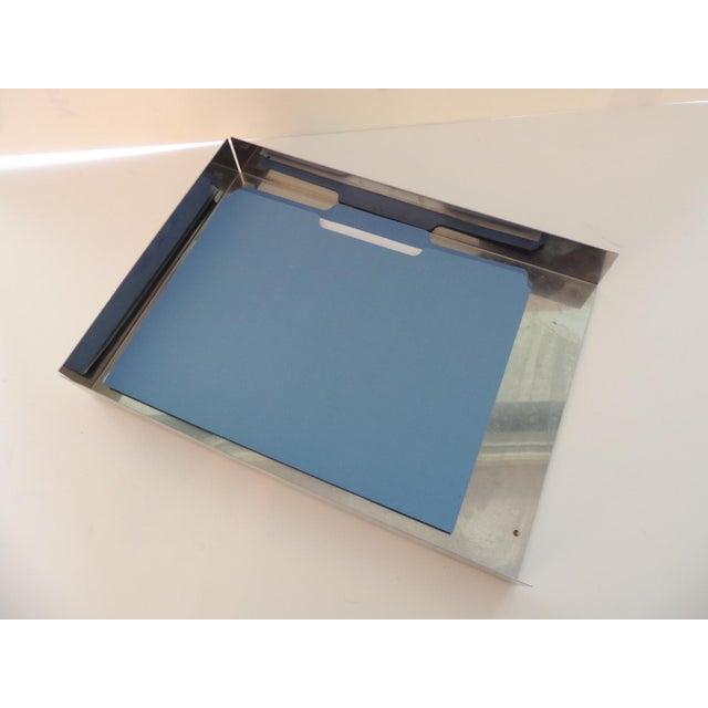 "Mid-Century Modern Style Chrome Desk Inbox Tray Size:10""W x 14""D x 1.75""H Made in the USA/Buffalo, NY"