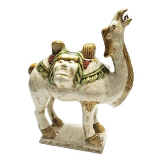 Unique Vintage Chinese Ceramic Camel Statue Sculpture - Tang Style - Asian Mid Century Modern Palm Beach Boho Chic Qing For Sale