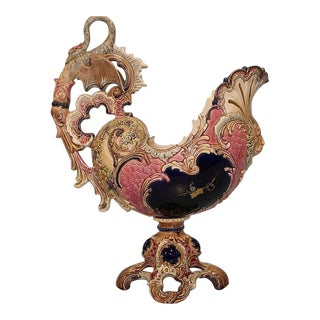Majolica Centerpiece With Swan Handle and Lion Face For Sale