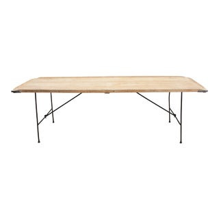 Antique Industrial Oak and Iron Folding Wallpaper Table For Sale