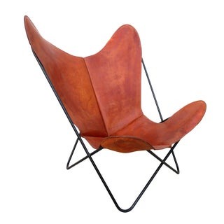 Early Mid Century Iron & Leather Bkf Butterfly Hardoy Lounge Sling Chair For Sale