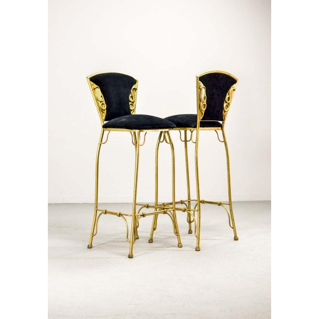 1970s Mid-Century Italian Design Set of Gilded Forged Steel 'GOLD COBRA' Bar Stools, Set of Ten, 1970s For Sale - Image 5 of 13