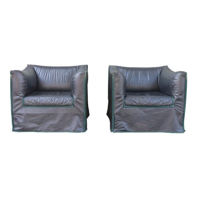 1980s Vintage Italian Leather Lounge Chairs- A Pair For Sale